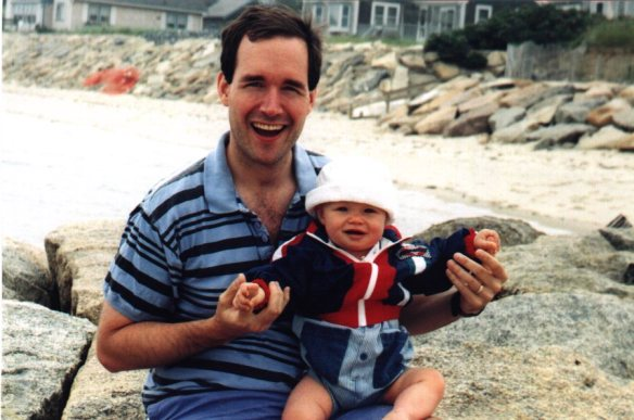 Daddy and Danny at beach
