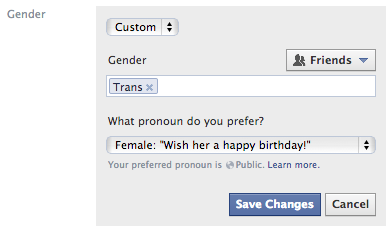 Facebook Gender Options